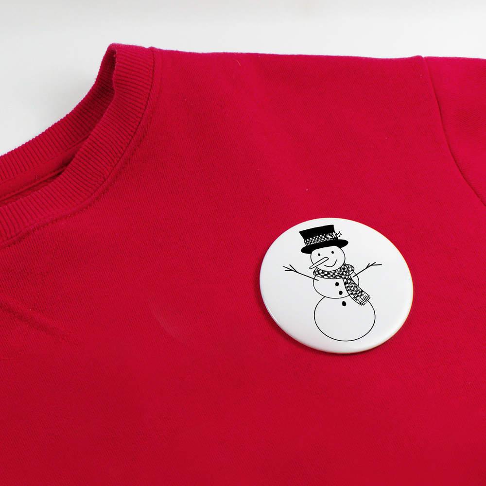 039-Bonhomme-de-Neige-Heureux-039-boutons-de-badge-BB019933 miniature 4