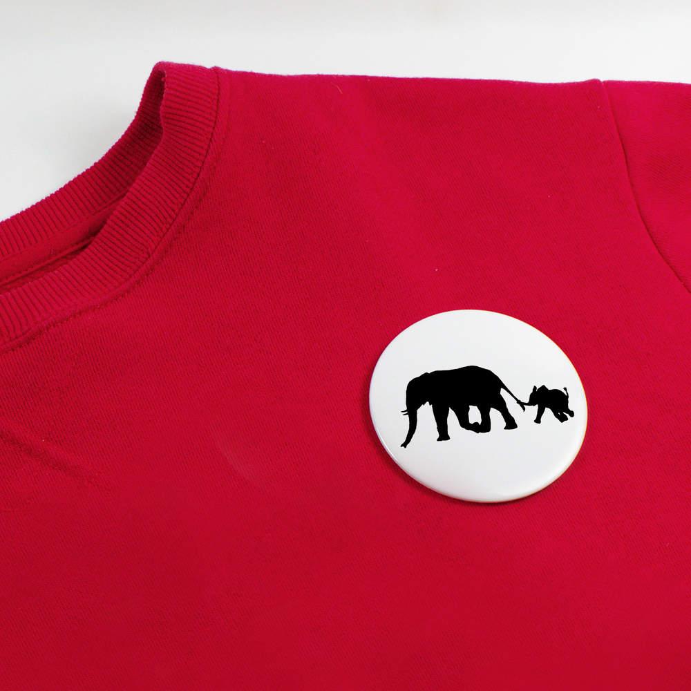 039-Silhouette-d-039-elephant-et-de-Veau-039-boutons-de-badge-BB019993 miniature 4