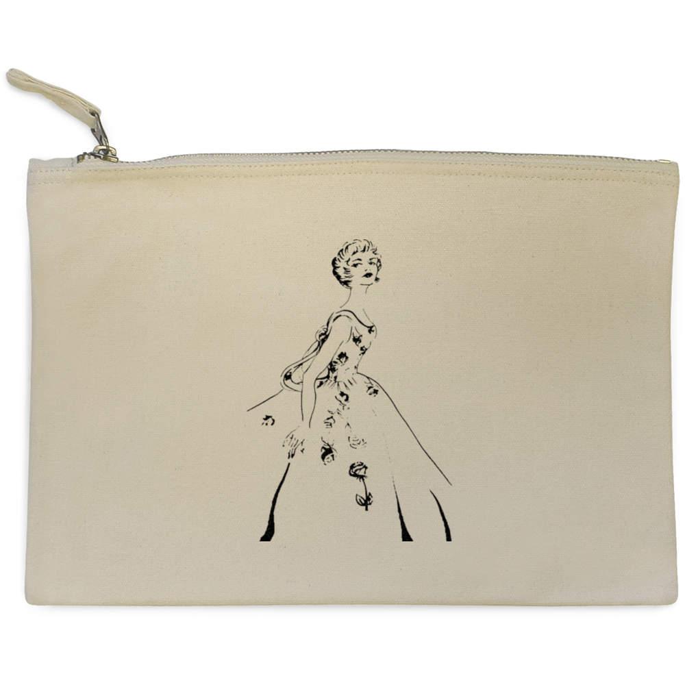 '1940s Vintage Ballgown' Canvas Clutch Bag / Accessory Case (CL00001988)