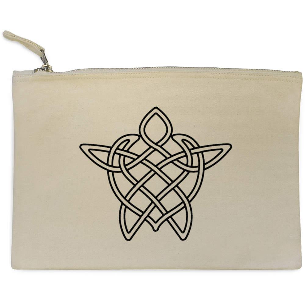 'Celtic Turtle' Canvas Clutch Bag / Accessory Case (CL00005605)