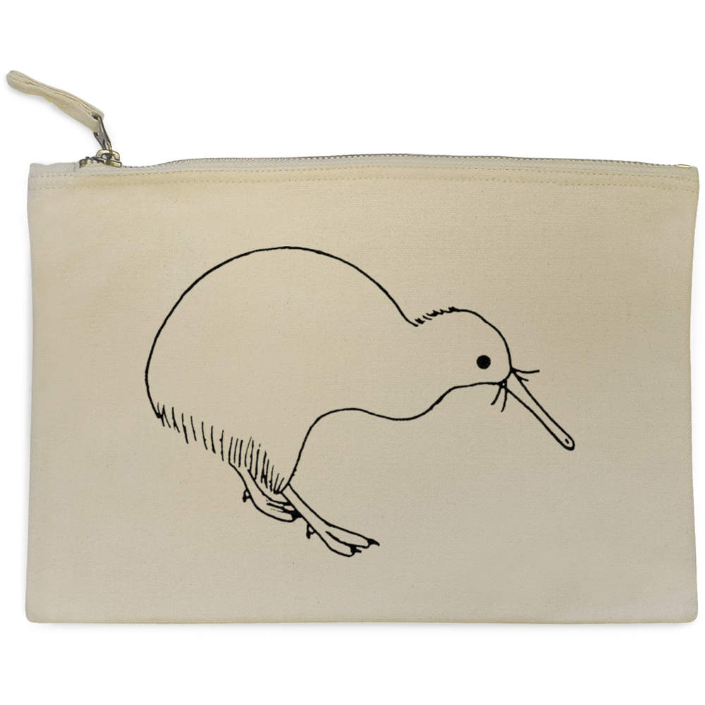 'Kiwi Bird' Canvas Clutch Bag / Accessory Case (CL00007733)