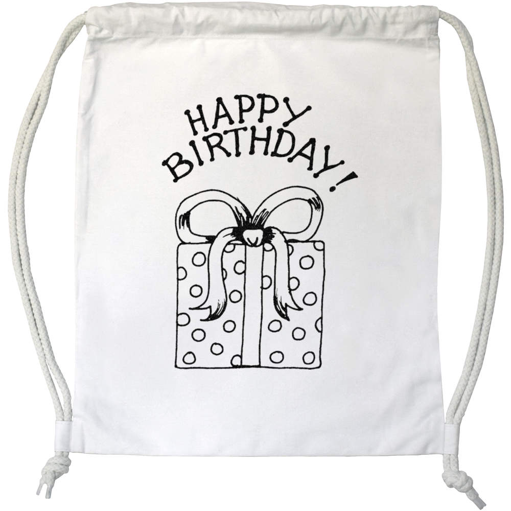 'Happy Birthday Present' Drawstring Gym Bag / Sack (DB00006104)