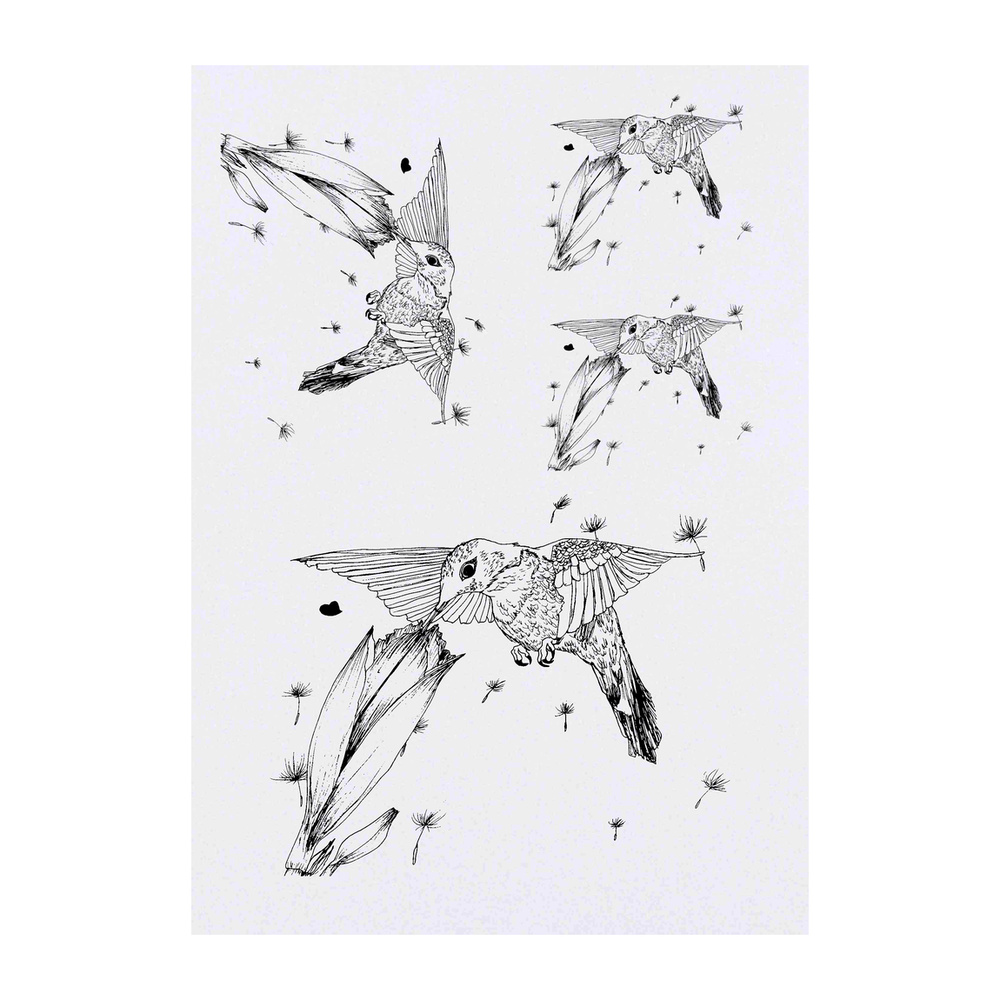 thumbnail 3 - 'Hummingbird & Flower' Temporary Tattoos (TO016053)