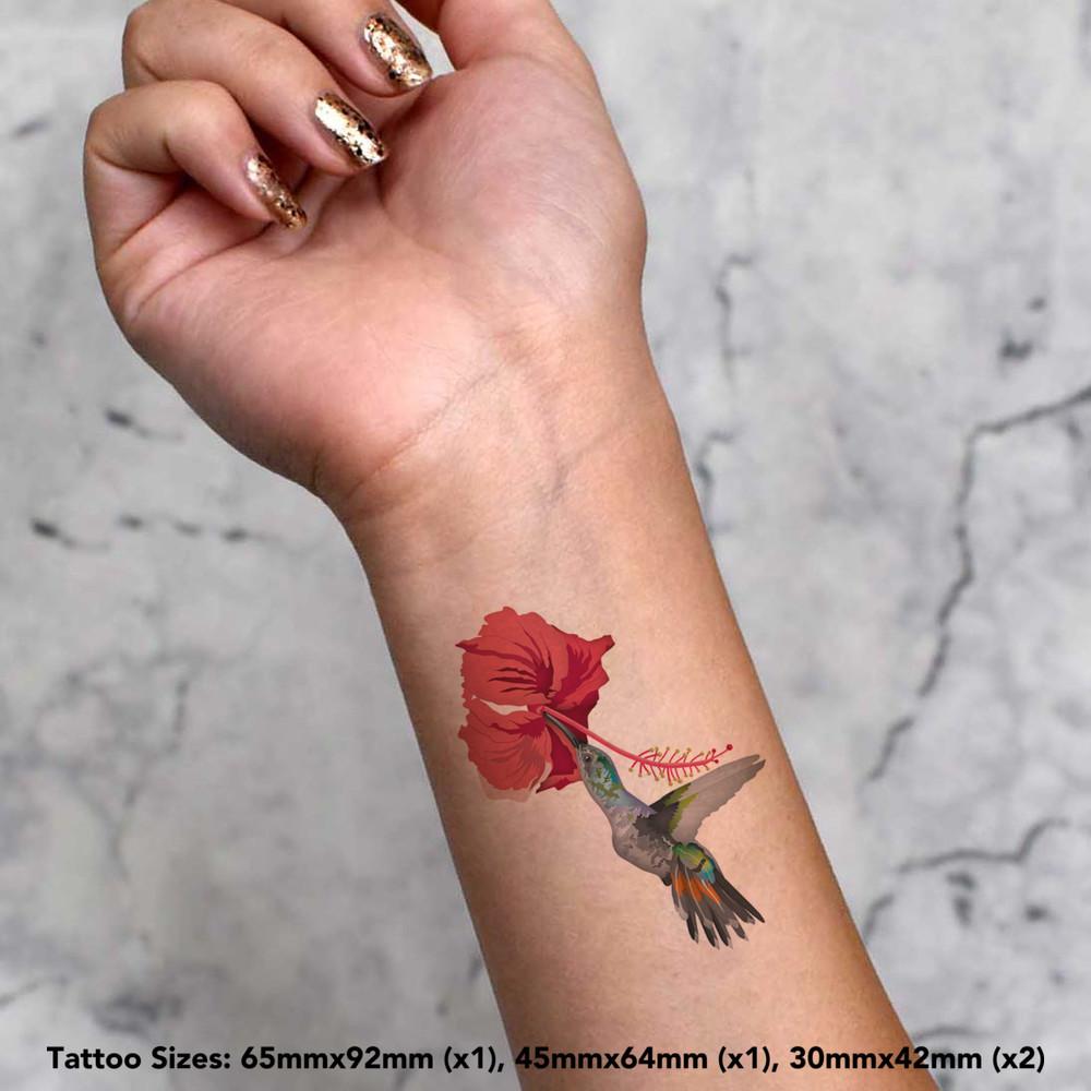 thumbnail 4 - 'Hummingbird & Flower' Temporary Tattoos (TO028613)