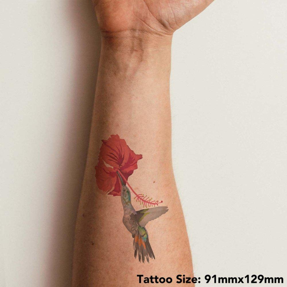 thumbnail 6 - 'Hummingbird & Flower' Temporary Tattoos (TO028613)