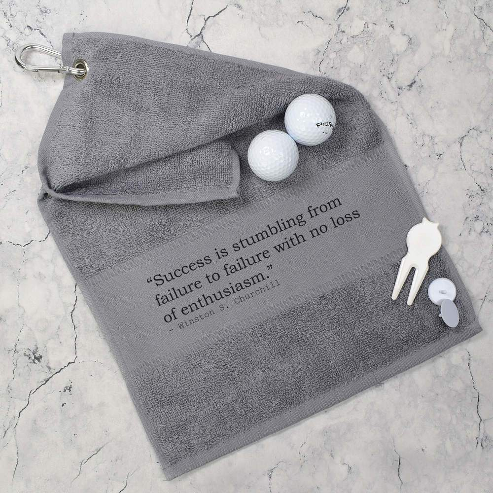 Success-Quote-By-Winston-S-Churchill-Cotton-Golf-Towel-GT019742 thumbnail 4